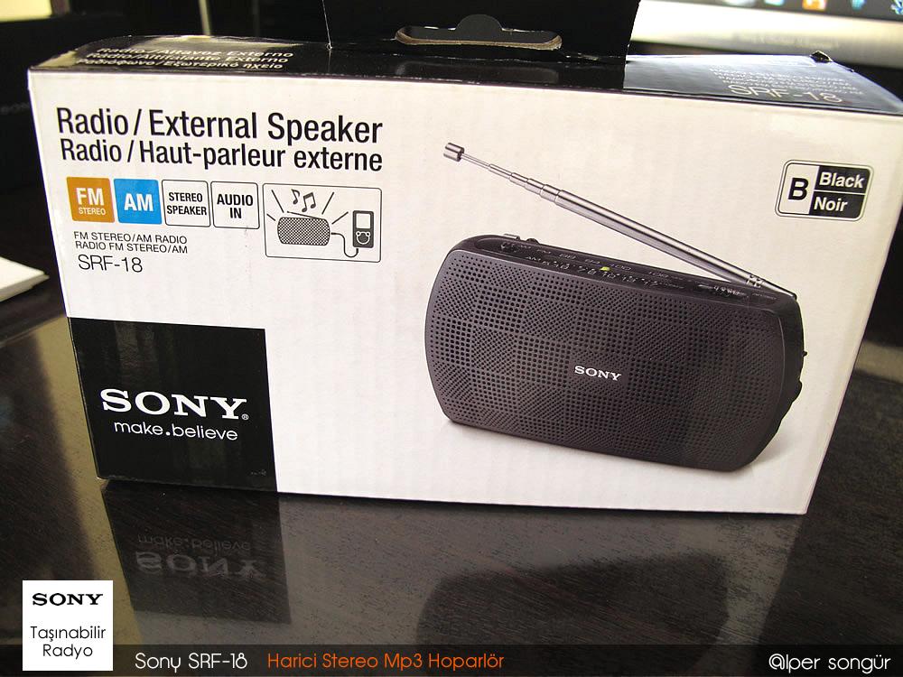 Sony SRF-18 Taşınabilir Radyo ve Harici Stereo Hoparlör